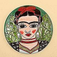 Ceramic decorative plate, 'Fantastic Frida' - Handcrafted Frida Kahlo Colorful Ceramic Decorative Plate