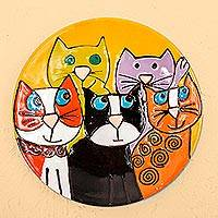 Ceramic decorative plate, 'Cat Fancy' - Handcrafted Five Fanciful Cats Ceramic Decorative Plate