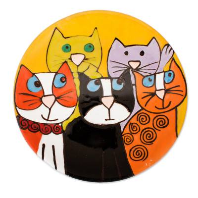 Handcrafted Five Fanciful Cats Ceramic Decorative Plate