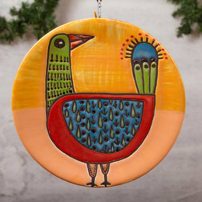 Ceramic wall art, 'Prickly Pear Chicken' - Handmade Ceramic Chicken Wall Art from Mexico