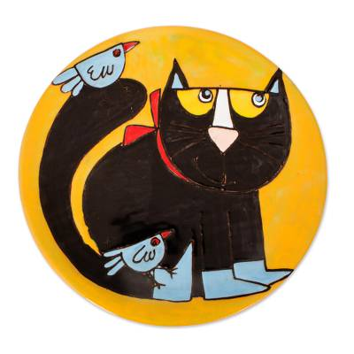 Handcrafted Black Cat with Birds Ceramic Decorative Plate