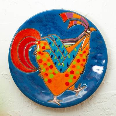 Ceramic decorative plate, 'Yellow Rooster' - Handcrafted Yellow Rooster on Blue Ceramic Decorative Plate