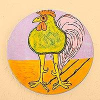 Ceramic decorative plate, 'Green Rooster' - Handcrafted Whimsical Green Rooster Ceramic Decorative Plate