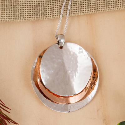 Sterling silver and copper pendant necklace, 'Light of the Afternoon' - Modern Taxco Sterling Silver and Copper Pendant Necklace
