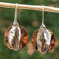 Sterling silver and copper dangle earrings, 'Light of the Afternoon' - Modern Taxco Sterling Silver and Copper Dangle Earrings