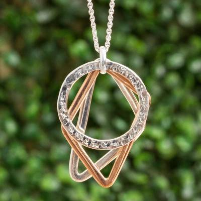 Sterling silver and copper pendant necklace, 'Geometric Trio' - Geometric Sterling Silver and Copper Pendant Necklace