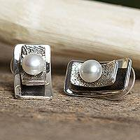 Cultured pearl button earrings, 'Glowing Mystery' - Modern Cultured Pearl Button Earrings from Mexico