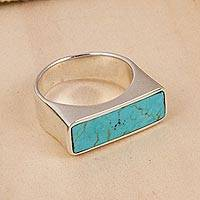 Sterling silver signet ring, 'Beautiful Encounter' - Sterling Silver and Recon. Turquoise Signet Ring from Mexico
