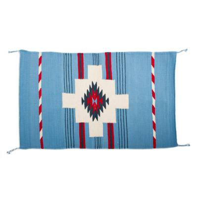 Handwoven Geometric Zapotec Wool Area Rug from Mexico (2x3)