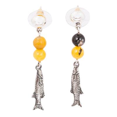 Fish-Themed Agate Beaded Dangle Earrings from Mexico