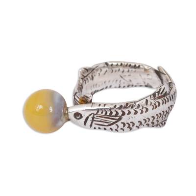 Natural Agate Fish Band Ring Crafted in Peru