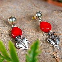 Sterling silver dangle earrings, 'Crystalline Flaming Hearts' - Heart-Shaped Sterling Silver Earrings with Red Crystal