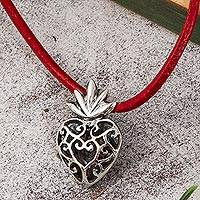 Sterling silver pendant necklace, 'Swirling Heart Aflame' - Openwork Sterling Silver Flaming Heart Pendant Necklace