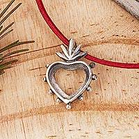 Sterling silver pendant necklace, 'Flaming Heart Bezel' - Open Sterling Silver Flaming Heart Pendant Necklace