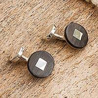 Sterling silver and wood cufflinks, 'Modern Man' - Modern Sterling Silver and Bocote Wood Cufflinks from Mexico
