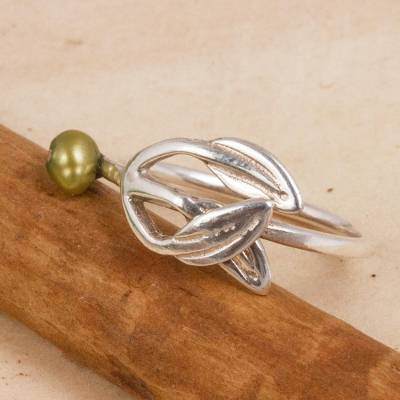 Cultured pearl band ring, 'Flourishing Olive' - Leaf-Shaped Cultured Pearl Band Ring from Mexico