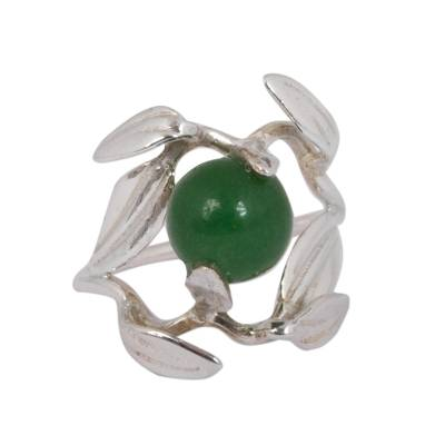 Olive Leaf Green Jade Cocktail Ring from Mexico