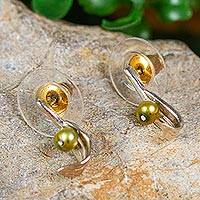 Cultured pearl drop earrings, 'Flourishing Olive' - Olive Leaf Green Cultured Pearl Drop Earrings from Mexico