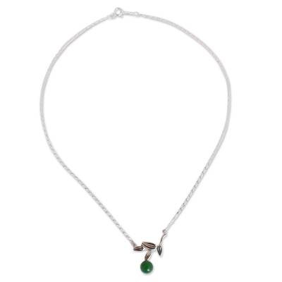 Olive Leaf Jade Pendant Necklace from Mexico
