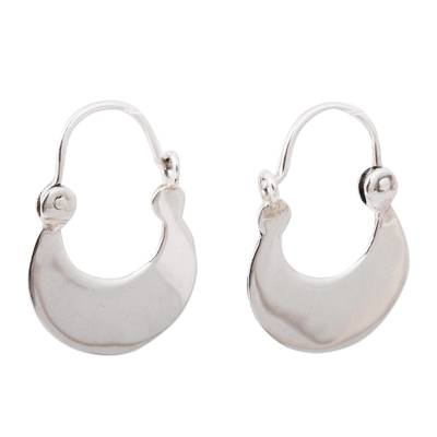 Crescent Sterling Silver Hoop Earrings from Mexico