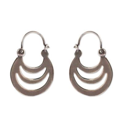 Crescent-Shaped Sterling Silver Hoop Earrings from Mexico