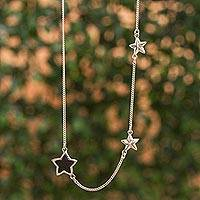 Sterling silver and wood station necklace, 'Lovely Stars' - Sterling Silver and Wood Star Station Necklace from Mexico