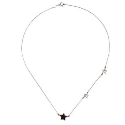 Sterling Silver and Wood Star Station Necklace from Mexico