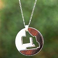Sterling silver and wood pendant necklace, 'Circular Mythology' - Modern Sterling Silver and Bocote Wood Pendant Necklace