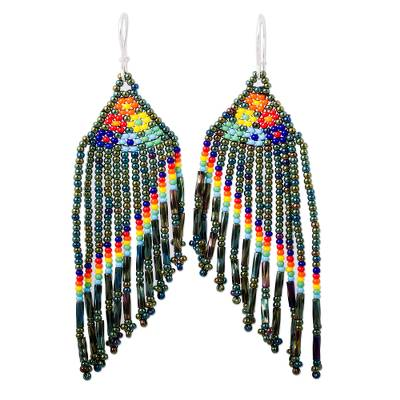 Opalescent Glass Beaded Waterfall Earrings from Mexico