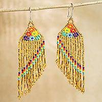 Glass beaded waterfall earrings, 'Bright Rainbow' - Bright Glass Beaded Waterfall Earrings from Mexico
