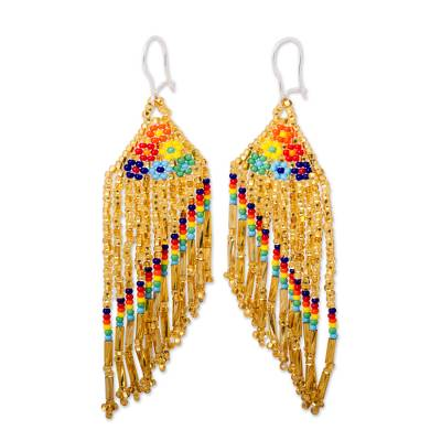 Bright Glass Beaded Waterfall Earrings from Mexico