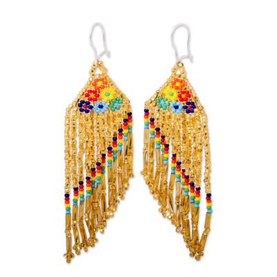Glass beaded waterfall earrings, 'Bright Rainbow' - Bright Glass Beaded Waterfall Earrings from Mexico