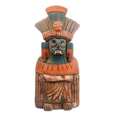 Ceramic sculpture, 'Mighty Tlaloc' - Rustic Ceramic Sculpture of Tlaloc from Mexico