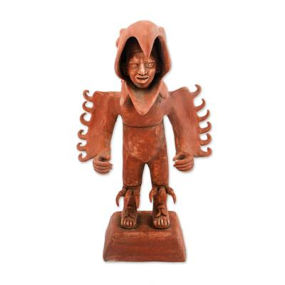 Ceramic sculpture, 'Eagle Warrior' - Handcrafted Ceramic Sculpture of an Aztec Warrior