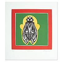 'Cicada' - Signed Print of a Cicada Bug from Mexico