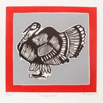 'Turkey' - Signed Print of a Turkey from Mexico