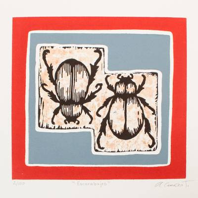 'Scarabs' - Signed Print of Two Scarab Beetles from Mexico