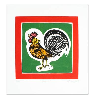 'The Rooster' - Signed Print of a Rooster from Mexico