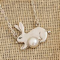 Cultured pearl pendant necklace, 'Glowing Rabbit' - Cultured Pearl Rabbit Pendant Necklace from Mexico