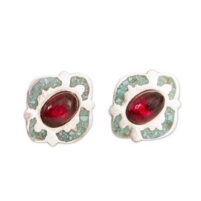 Garnet and Recon. Turquoise Stud Earrings from Mexico