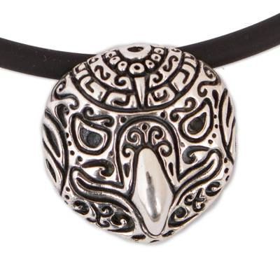 Stylized Sterling Silver Eagle Pendant Necklace from Mexico