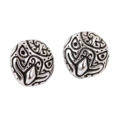 Stylized Eagle Sterling Silver Stud Earrings from Mexico