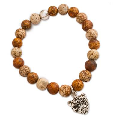 Brown Agate Beaded Stretch Bracelet with Jaguar Charm