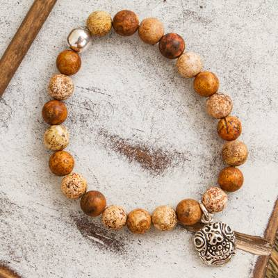 Agate beaded stretch bracelet, 'Stylized Tortoise in Brown' - Brown Agate Beaded Stretch Bracelet with Tortoise Charm