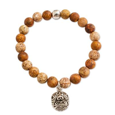 Brown Agate Beaded Stretch Bracelet with Tortoise Charm