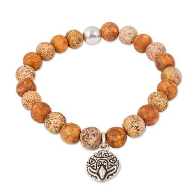 Brown Agate Beaded Stretch Bracelet with Eagle Charm