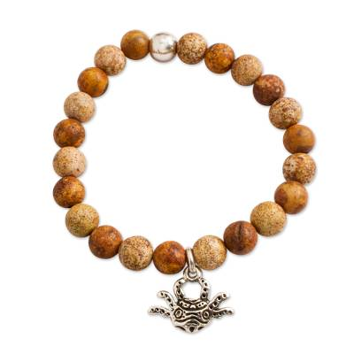 Brown Agate Beaded Stretch Bracelet with Axolotl Charm