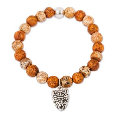 Brown Agate Beaded Stretch Bracelet with Wolf Charm