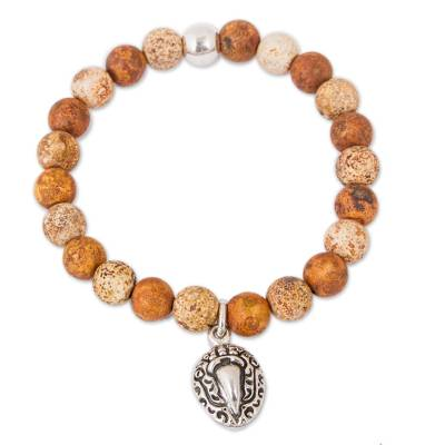 Brown Agate Beaded Stretch Bracelet with Macaw Charm