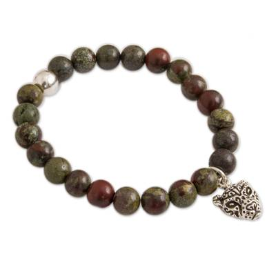Green Agate Beaded Stretch Bracelet with Jaguar Charm